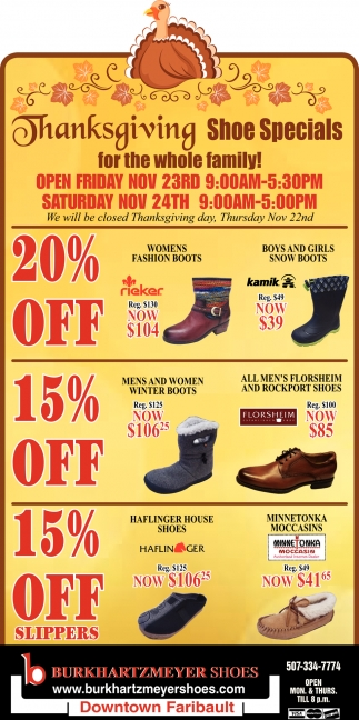 Thanksgiving Shoe Specials!