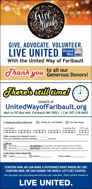 Give. Advocate. Volunteer, United Way Faribault, Faribault, MN
