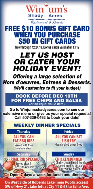 Let us Host or Cater Your Holiday Event!