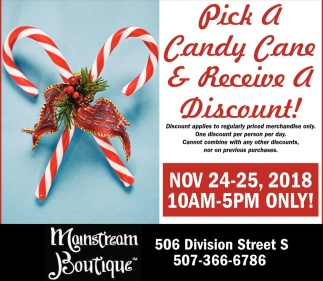 Pick a Candy Cane & Receive a Discount!