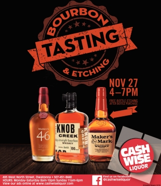 Bourbon Tasting & Etching, Nov 27