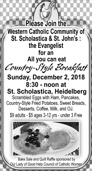 Country Style Breakfast, December 2, St. Scholastica - Heidelberg, New Prague, MN