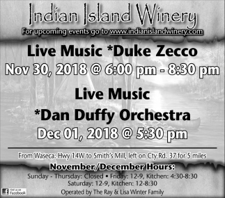 Duke Zecco, Nov 30 - Dan Duffy Orchestra, Dec 01