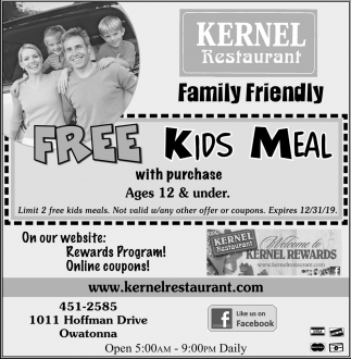 Free Kids Meal with purchase Ages 12 & under
