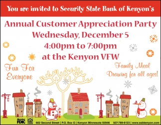 Annual Customer Appreciation Party, December 5