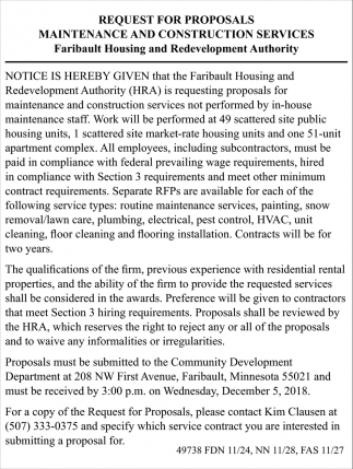 Request for Proposals Maintenance and Constructions Services, Faribault Housing and Redevelopment Authority