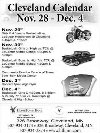 Cleveland Calendar Nov. 28 - Dec. 4