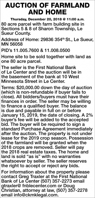 Auction of Farmland and Home