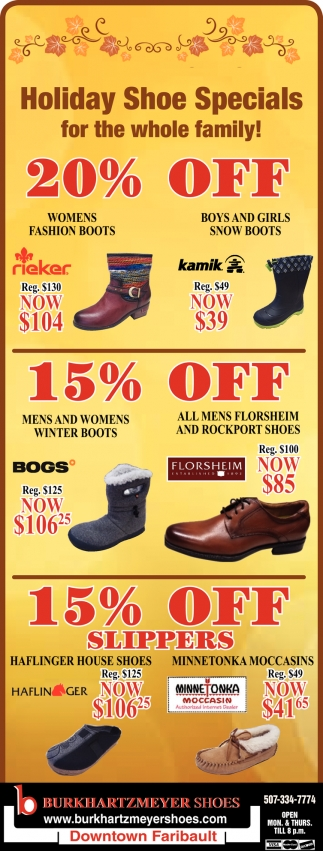 Holiday Shoe Specials!
