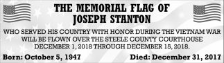 Memorial Flag of Joseph Stanton