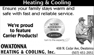 We're proud to feature Carrier Products!, Owatonna Heating & Cooling, Owatonna, MN