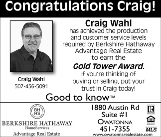 Congratulations Craig! Gold Tower Award, Berkshire Hathaway: Craig Wahl