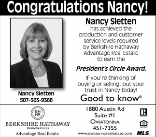 Congratulations Nancy!, Berkshire Hathaway - Nancy Sletten