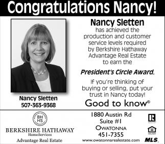 Congratulations Nancy!