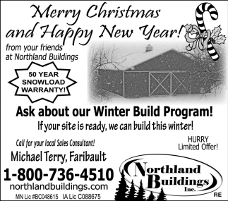Merry Cristmas and Happy New Year, Northland Buildings, Eau Claire, WI