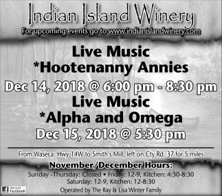 Hootenanny Annies, Dec 14 - Alpha and Omega, Dec 15