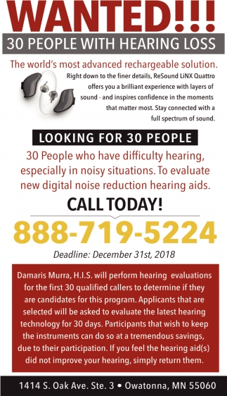 Wanted!! 30 People with Hearing Loss