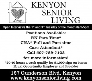 Positions Available, Kenyon Senior Living, Kenyon, MN