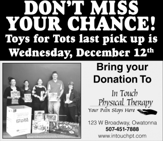 Toys for Tots last Pick up, Dec 12th