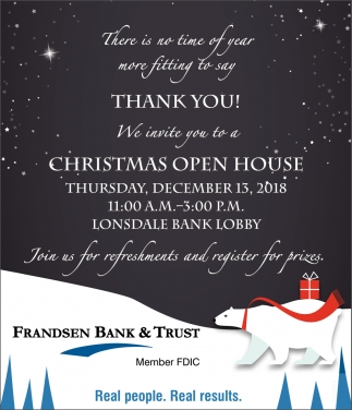 Christmas Open House, Frandsen Bank & Trust, Dundas, MN