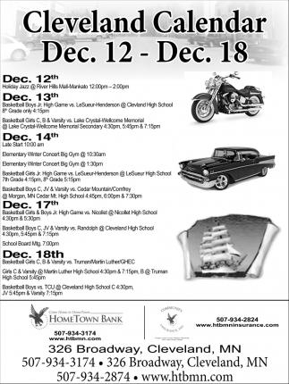 Cleveland Calendar Dec. 12 - Dec 18