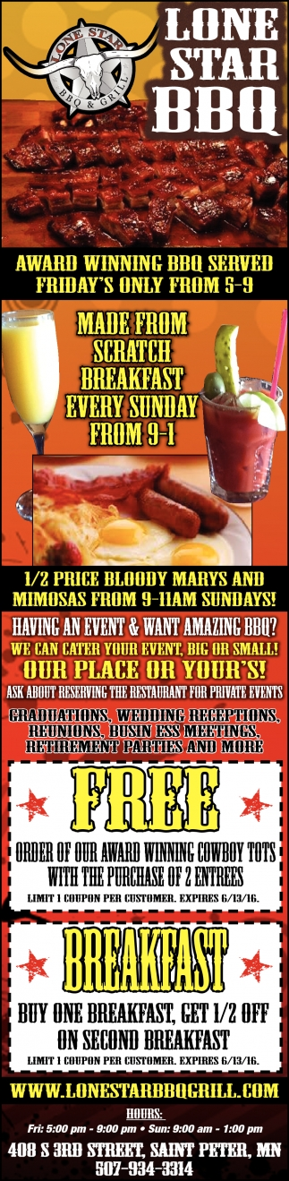 AWARD WINNING BBQ SERVED FRIDAY'S ONLY FROM 5-9