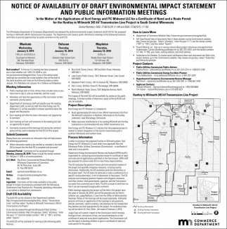 Notice of Availability of Draft Environmental Impact Statement and Public Information Meetings