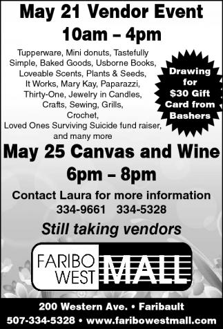 May 21 Vendor Event 10 am - 4 pm