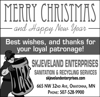 Merry Cristmas and Happy New Year, Skjeveland Enterprises, Owatonna, MN