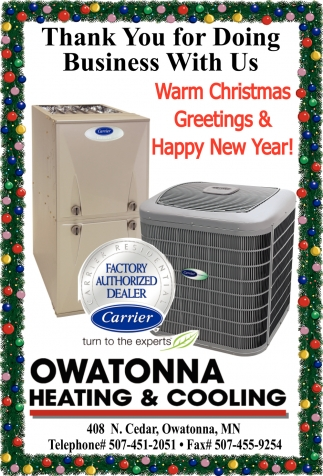 Warm Christmas Greetings & Happy New Year, Owatonna Heating & Cooling, Owatonna, MN