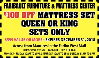 $100 Off Mattress Set, Queen or King Sets Only