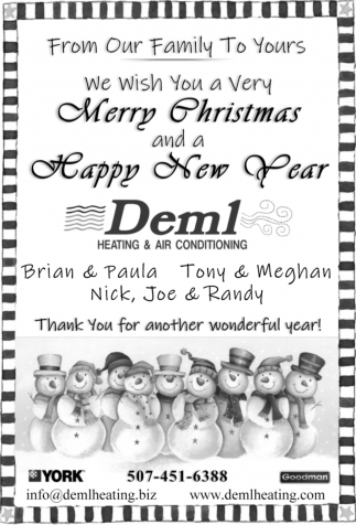From Our Family to Yours, We Wish You a Very Merry Christmas and a Happy New Year, Deml Heating & Air Conditioning, Owatonna, MN