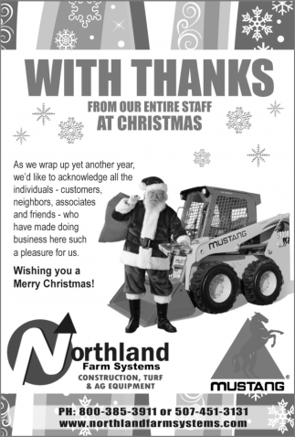 With Thanks From Our Entire Staff At Christmas, Northland Farm Systems, Owatonna, MN