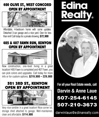 For Your Real Estate Needs, Call Darvin & Anne Laue