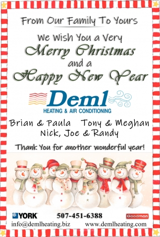 Merry Christmas and a Happy New Year, Deml Heating & Air Conditioning, Owatonna, MN