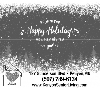 We wish you Happy Holidays and a Great New Year, Kenyon Senior Living, Kenyon, MN