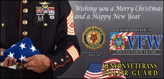 Wishing you a Merry Christmas and a Happy New Year, Kenyon Veterans Color Guard, Kenyon, MN