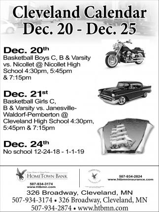Cleveland Calendar Dec. 20 - Dec. 25