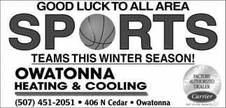 Good Luck to All Area Sports Teams this Winter Season, Owatonna Heating & Cooling, Owatonna, MN