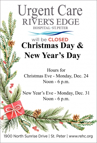 Urgent Care will be CLOSED Christmas Day & New Year's Day