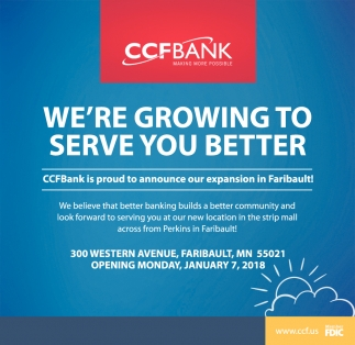 We're Growing To Serve You Better