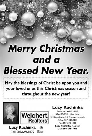 Merry Christmas Blessed New Year Weichert Realtors Lucy Kuchinka