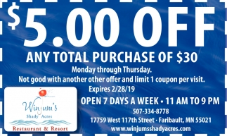 $5.00 Off Any Total Purchase of $30