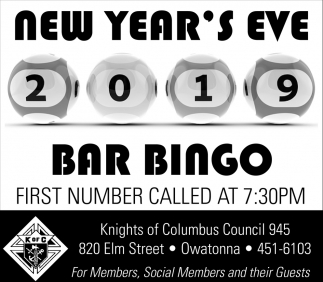 New Year's Eve Bar Bingo