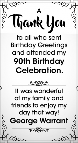 90th Birthday Celebration George Warrant