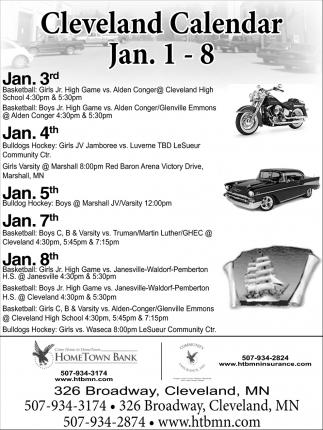 Cleveland Calendar Jan. 1 - 8