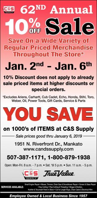 62nd Annual Sale, C&S Supply, Mankato, MN