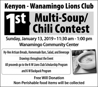 1st Multi-Soup/Chili Contest, Kenyon Lions Club, Kenyon, MN
