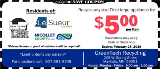 Recycle Any Size TV Or Large Appliance, GreenTech Recycling, Mankato, MN