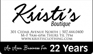 An Area Business For 22 Years, Kristi's Boutique, Owatonna, MN